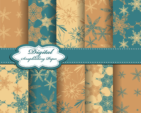 compendium: set of vector Christmas abstract snowflakes pattern paper for scrapbook