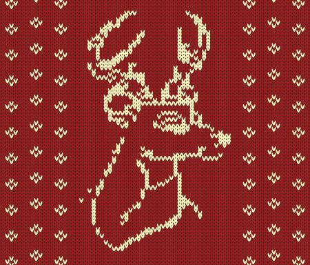 knitted background: Resumen de vectores de Navidad de los ciervos de punto Vectores