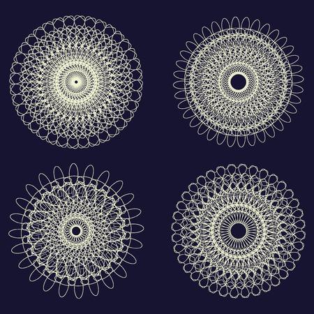 rosettes: Set of Vector Guilloche Rosettes decorative Elements