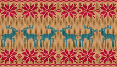 knitted background: Fondo del vector de los ciervos de Navidad de punto