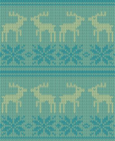 Christmas deer vector knitted background Illustration