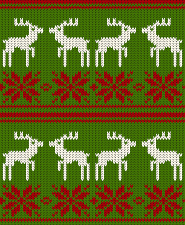 knitted background: Christmas deer vector knitted background Illustration