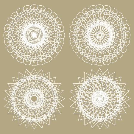 rosettes: Set of Vector Guilloche Rosettes  Decorative Elements Illustration
