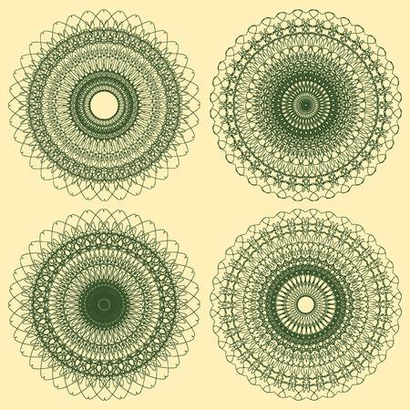 escarapelas: Conjunto de vectores de líneas entrecruzadas rosetas Elementos Decorativos Vectores