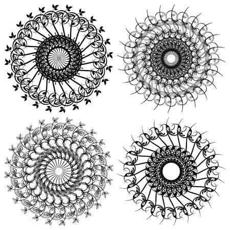 Set of Vector Rosettes pattern, Decorative Elements Illustration