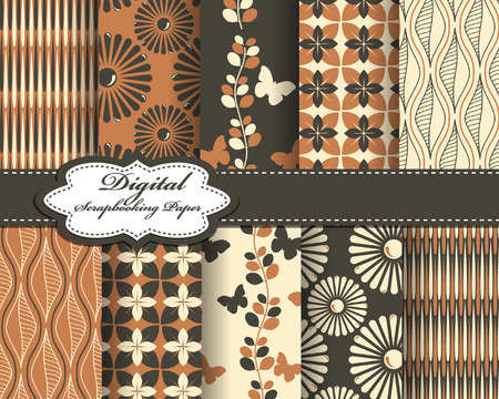 decoratively: set of vector abstract pattern paper for scrapbook with butterfly