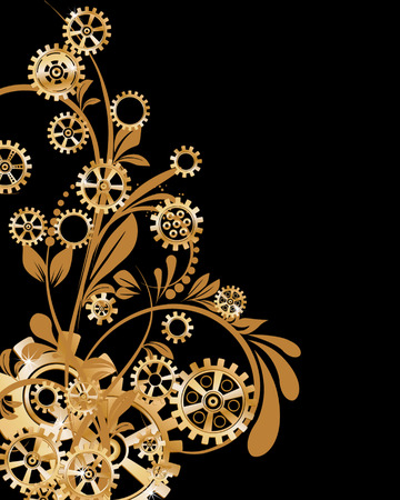 steampunk: Abstract mechanical background with floral elements, vector illustration. Steampunk gear;
