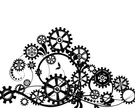 抽象的な花の要素を持つ力学的背景、ベクトル イラスト。スチーム パンクなギア。