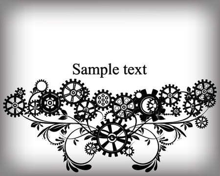 metal gears: Abstract mechanical background with floral elements, vector illustration. Steampunk gear;