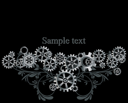 gears background: Abstract mechanical background with floral elements, vector illustration. Steampunk gear;