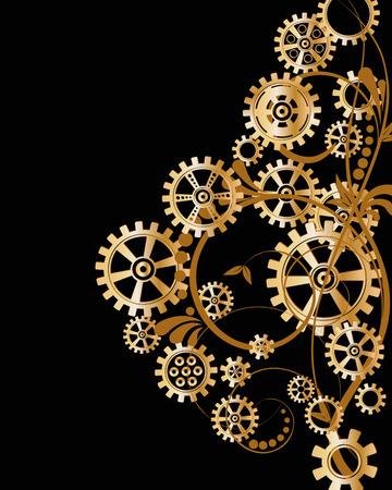 抽象的な花の要素を持つ力学的背景ベクトル イラストスチーム パンク