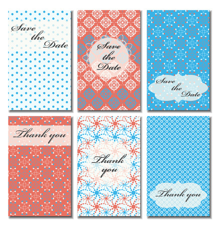 response: Vintage vector card templates. Can be used for Save The Date, baby shower, mothers day, valentines day, birthday cards, invitations. Seamless pattern is masked. Template Vector response card save the date card