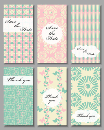 response: Vintage vector card templates. Can be used for Save The Date, baby shower, mothers day, valentines day, birthday cards, invitations. Seamless pattern is masked. Template Vector response card