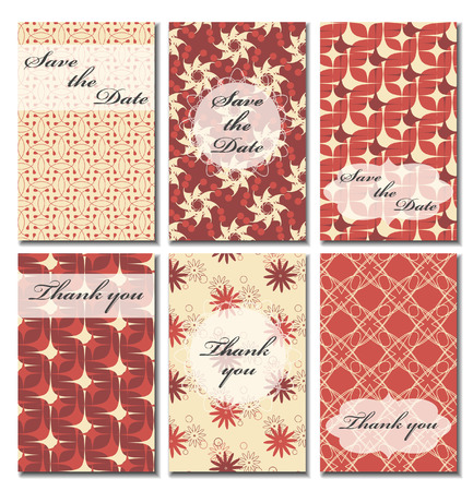 wedding reception decoration: Vintage vector card templates. Can be used for Save The Date, baby shower, mothers day, valentines day, birthday cards, invitations. Seamless pattern is masked. Template Vector response card save the date card
