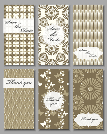 wedding reception decoration: Vintage vector card templates. Can be used for Save The Date, baby shower, mothers day, valentines day, birthday cards, invitations. Seamless pattern is masked. Template Vector response card