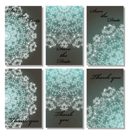 wedding reception decoration: Vintage vector card templates. Can be used for Save The Date, baby shower, mothers day, valentines day, birthday cards, invitations. Seamless pattern is masked. Template response card save the date