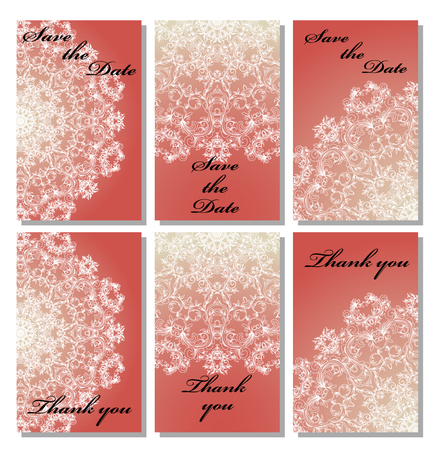 response: Vintage vector card templates. Can be used for Save The Date, baby shower, mothers day, valentines day, birthday cards, invitations. Seamless pattern is masked. Template response card save the date