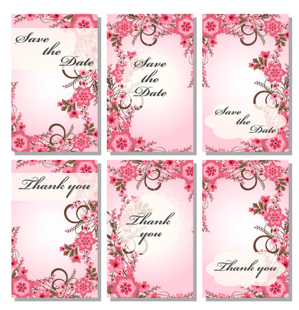 pink wedding: Vintage card templates.