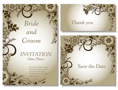 thank you card: Wedding flower invitation, thank you card, save the date cards.