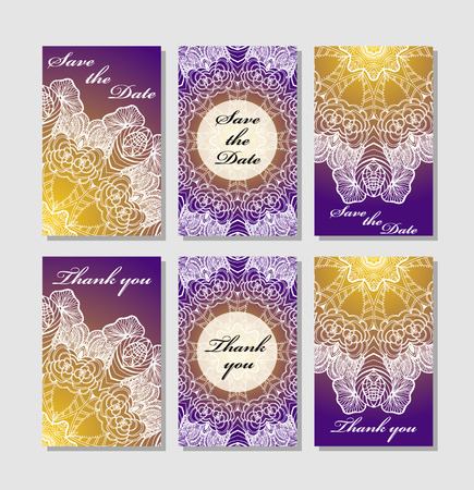 wedding reception decoration: Template response card save the date card Illustration