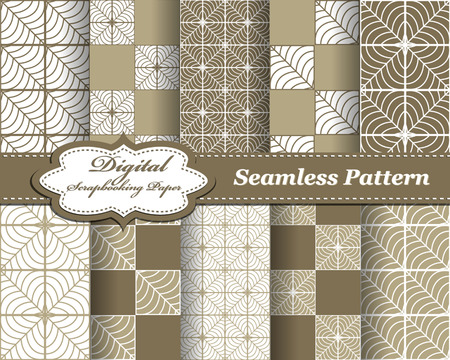 decoratively: Seamless patterns. Set of vector abstract pattern paper for scrapbook Illustration