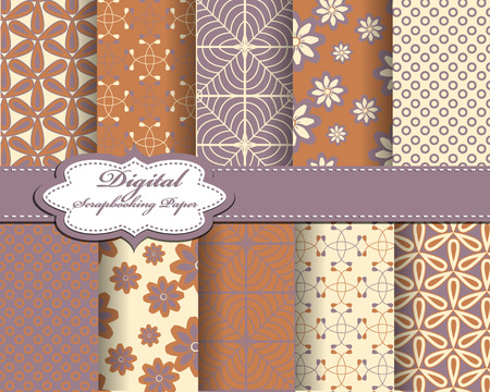 decoratively: Set of vector abstract pattern paper for scrapbook