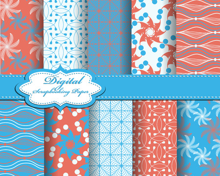 flowers background: Set of vector abstract pattern paper for scrapbook