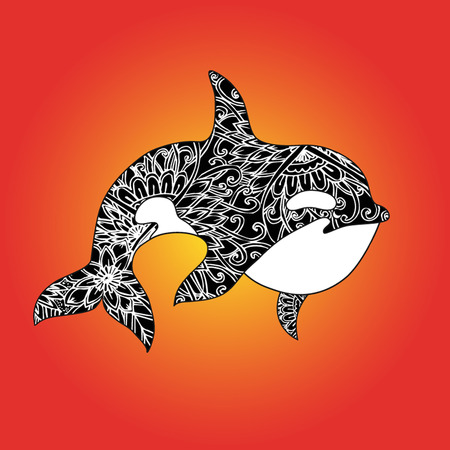 whale underwater: Funny doodles pattern with whale. underwater sea life