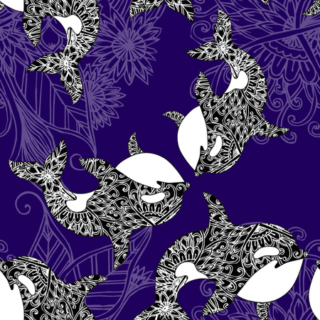 whale underwater: Sea seamless pattern. Funny seamless pattern with whale. underwater sea life Illustration