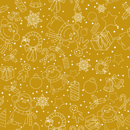 december background: Christmas line icons seamless vector background. Seamless pattern can be used for wallpaper, pattern fills, web page background, surface textures. Gorgeous Christmas seamless  background Illustration