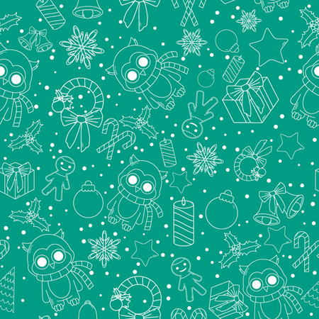 bear berry: Christmas line icons seamless vector background. Seamless pattern can be used for wallpaper, pattern fills, web page background, surface textures. Gorgeous Christmas seamless  background Illustration