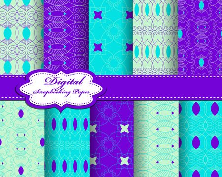 decoratively: Set of vector abstract pattern paper for scrapbook. Can be used for wallpaper, pattern fills, web page background, surface textures. Gorgeous abstract background