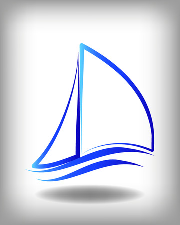 yacht race: Yacht vector logo templates. Yachts silhouettes. Vector line yachts icon,  vector illustration. Yachting and regatta symbols