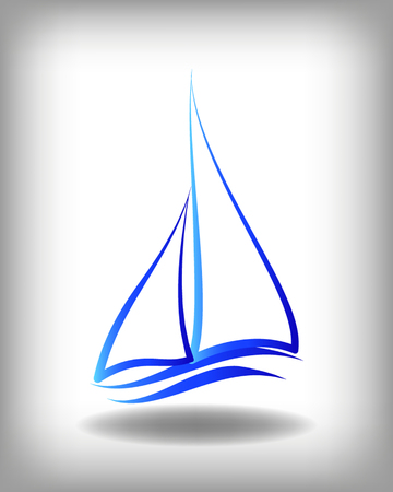 Yacht vector icon templates. Yachts silhouettes. Vector line yachts icon,  vector illustration. Yachting and regatta symbols Ilustracja