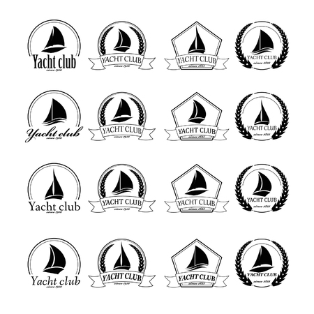 yachts: Yacht emblem vector icon templates. Yachts silhouettes. Vector line yachts icon,  vector illustration. Yachting and regatta symbols