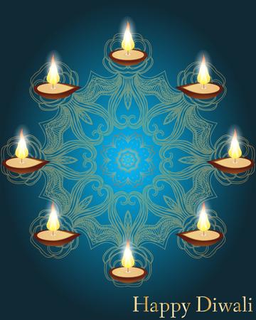 ethnicity happy: Religious card design for Diwali festival with beautiful lamps. Vector illustration of burning diya (Oil Lamp) on Diwali Holiday background. Mandala Illustration