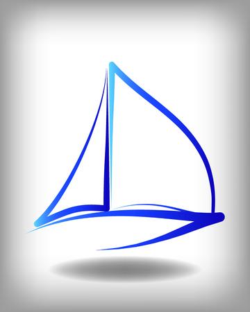 Yacht vector logo sjablonen. Yachts silhouetten. Vector lijn jachten pictogram, vector illustratie. Yachting en regatta symbolen