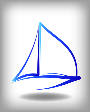 yacht: Yacht vector logo templates. Yachts silhouettes. Vector line yachts icon,  vector illustration. Yachting and regatta symbols