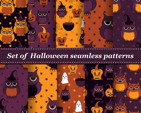 cute wallpaper: Set of Halloween seamless vector abstract pattern paper for scrapbook. Can be used for wallpaper, pattern fills, web page background, surface textures. Gorgeous abstract background