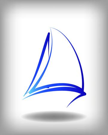 Yacht vector icon sjablonen. Jachten silhouetten. Vector lijn jachten pictogram, vector illustratie. Yachting regatta en symbolen