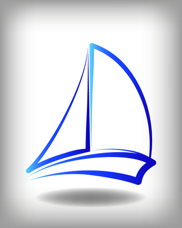 Yacht vector icon templates. Yachts silhouettes. Vector line yachts icon,  vector illustration. Yachting and regatta symbols Ilustrace