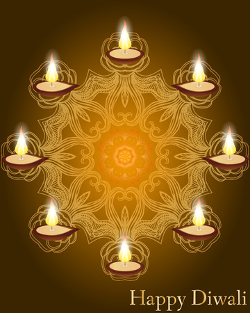 auspicious: Religious card design for Diwali festival with beautiful lamps. Vector illustration of burning diya (Oil Lamp) on Diwali Holiday background. Mandala Illustration
