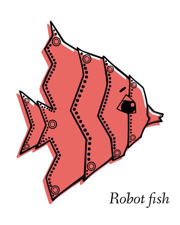 inhabitants: Marine Drawings. Vector Illustrations Robot Inhabitants of the Underwater World. Steampunk animal