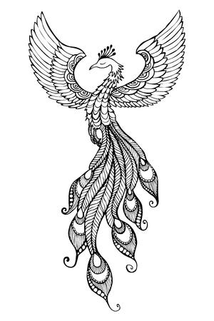 Phoenix Ptak godło rysowane w stylu tatuażu. Ilustracje wektorowe