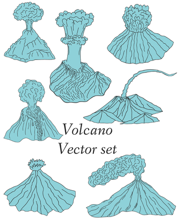 cartoon volcano: Volcano erupting illustration. Volcano Icons Set. Different stages of volcano icon set vector.