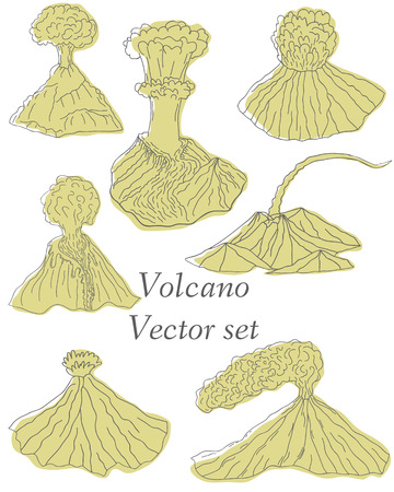 volcano mountain: Volcano erupting illustration. Volcano Icons Set. Different stages of volcano icon set vector.