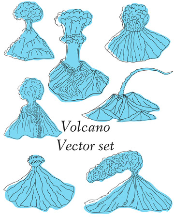 erupting: Volcano erupting illustration. Volcano Icons Set. Different stages of volcano icon set vector.