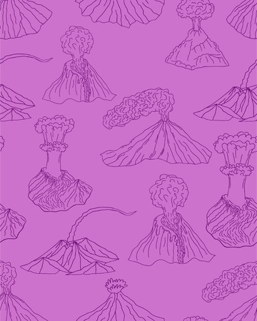 erupting: Volcano erupting vector illustration. Volcano seamless pattern. Different stages of volcano ornament