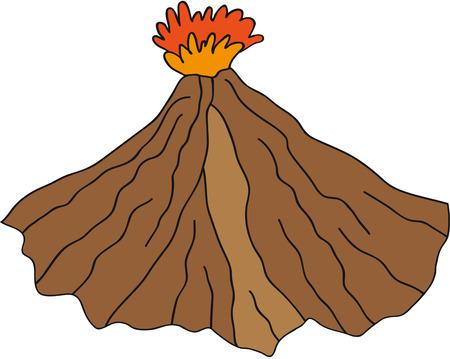 mountain ash: Volcano vector erupting illustration. Illustration