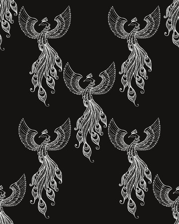 ave fenix: emblema de Phoenix Pájaro dibujado en estilo del tatuaje. Vectores